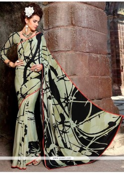 Congenial Print Work Multi Colour Faux Crepe Casual Saree