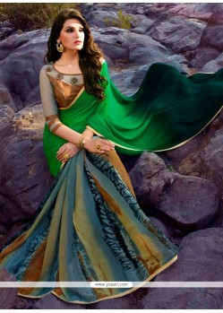 Subtle Multi Colour Print Work Georgette Designer Saree