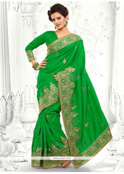 Blooming Green Bhagalpuri Silk Saree