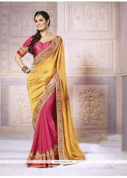 Impressive Hot Pink And Yellow Satin Classic Designer Saree
