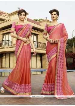 Perfect Jacquard Pink Patch Border Work Classic Designer Saree