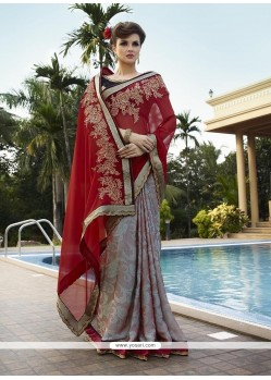 Celestial Patch Border Work Georgette Classic Designer Saree