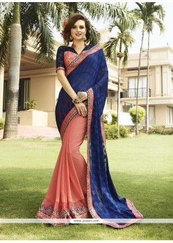 Invigorating Blue Embroidered Work Georgette Classic Designer Saree