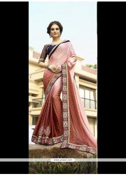 Dazzling Jacquard Pink Embroidered Work Classic Designer Saree
