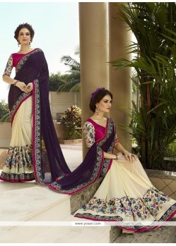 Elite Patch Border Work Cream And Purple Georgette Classic Designer Saree