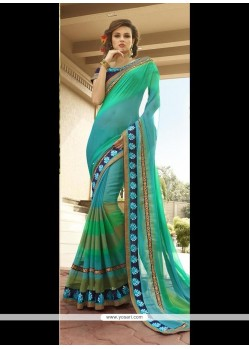 Beautiful Sea Green Classic Designer Saree