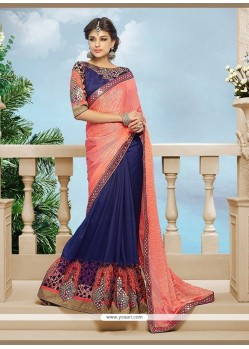 Absorbing Georgette Navy Blue Classic Designer Saree