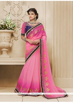 Fashionable Pink Patch Border Work Georgette Classic Designer Saree