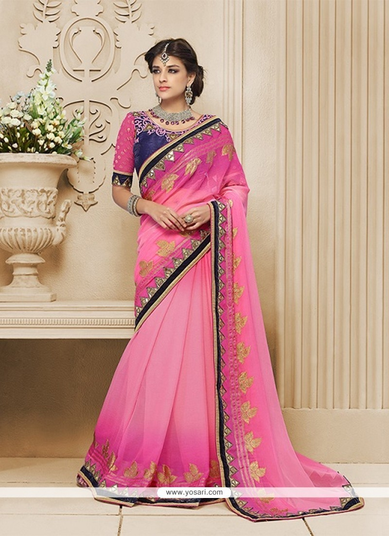 Fashionable Pink Patch Border Work Georgette Classic Designer Saree