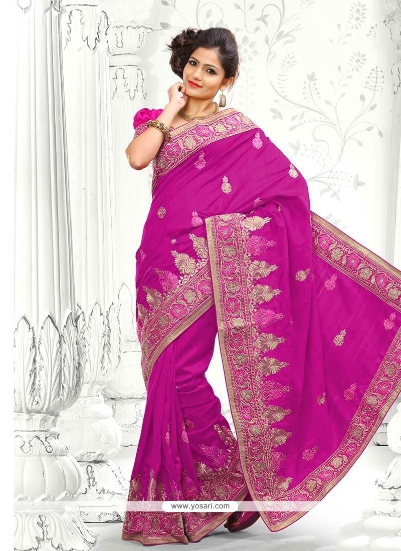 Angelic Magenta Bhagalpuri Silk Saree