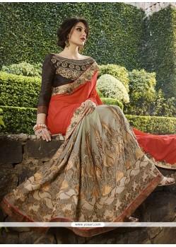Lurid Orange Classic Designer Saree