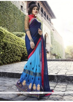 Affectionate Georgette Blue Embroidered Work Classic Designer Saree