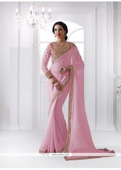 Wonderous Pink Patch Border Work Georgette Classic Designer Saree