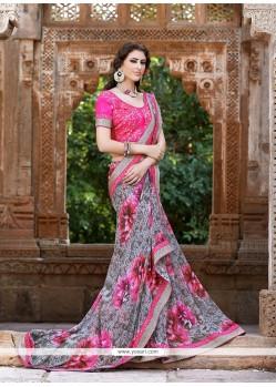 Incredible Pink Georgette Designer Saree