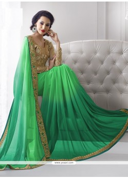 Sterling Georgette Green Embroidered Work Classic Designer Saree