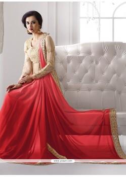 Paramount Georgette Red Classic Designer Saree