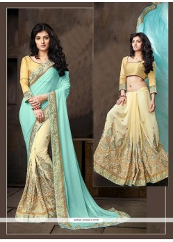 Mesmeric Embroidered Work Beige Designer Half N Half Saree