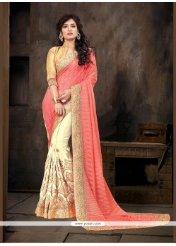 Swanky Jacquard Embroidered Work Designer Half N Half Saree