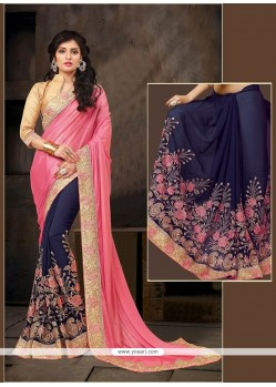 Elite Embroidered Work Navy Blue Designer Half N Half Saree