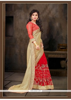 Delightsome Jacquard Patch Border Work Designer Half N Half Saree
