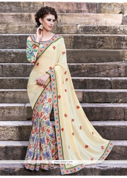 Cream Pure Georgette Casual Saree