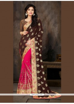 Chic Georgette Patch Border Work Designer Half N Half Saree