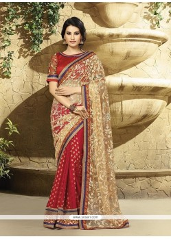 Opulent Red Embroidered Work Classic Designer Saree