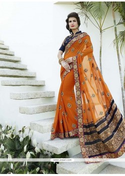 Especial Bamber Georgette Patch Border Work Classic Designer Saree