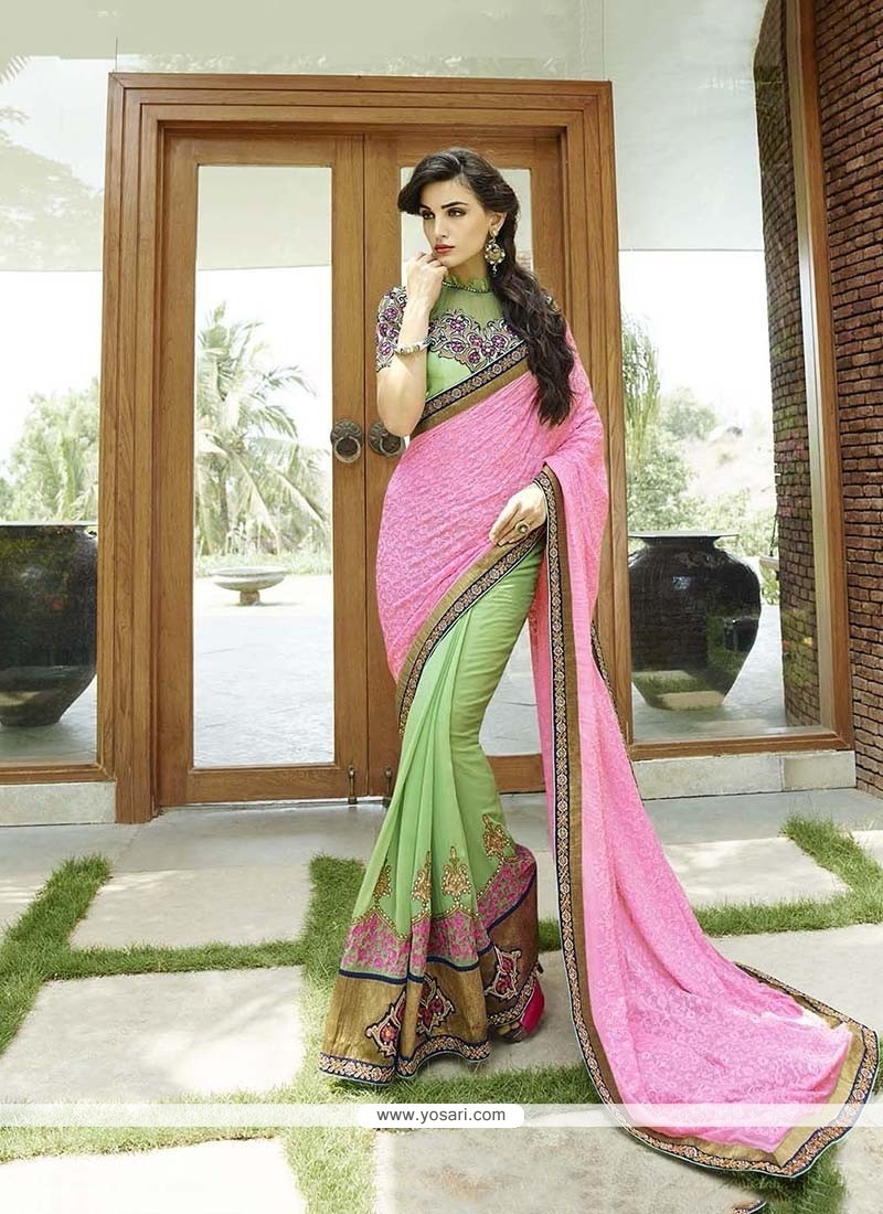 Intrinsic Patch Border Work Bamber Georgette Classic Designer Saree