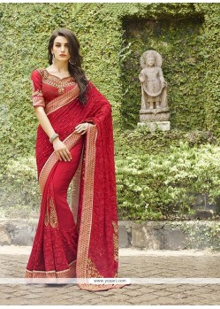 Zesty Bamber Georgette Red Classic Designer Saree