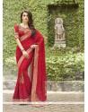Zesty Bamber Georgette Red Classic Designer Saree
