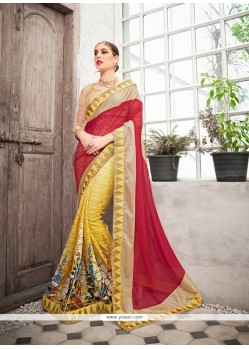 Sightly Net Embroidered Work Classic Designer Saree