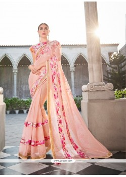 Scintillating Peach Patch Border Work Classic Designer Saree