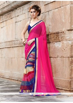 Magenta And Blue Printed Saree