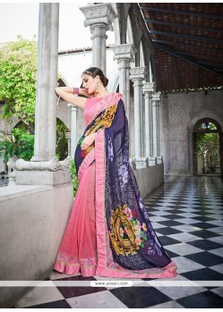 Gratifying Georgette Patch Border Work Classic Designer Saree