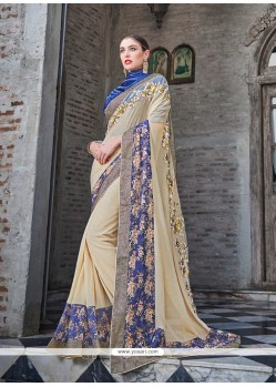 Striking Shimmer Georgette Beige Classic Designer Saree