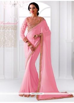 Prime Embroidered Work Pink Georgette Designer Saree