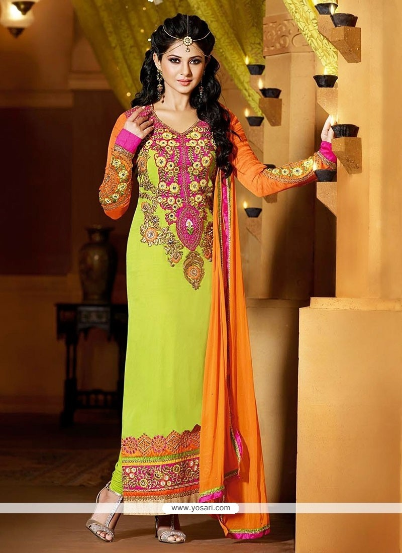 Jenifer Winget Green Zari Georgette Churidar Suit