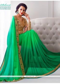 Wonderous Green Embroidered Work Georgette Designer Saree