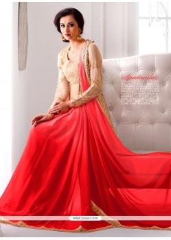 Glossy Orange Designer Saree