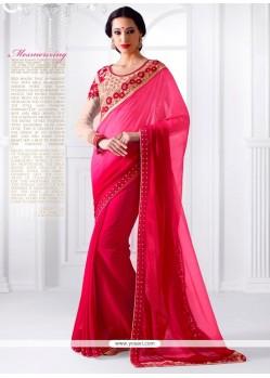 Flamboyant Hot Pink Embroidered Work Georgette Designer Saree