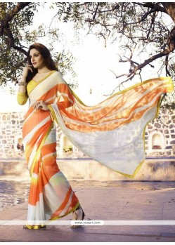 Zesty Off White Print Work Georgette Casual Saree