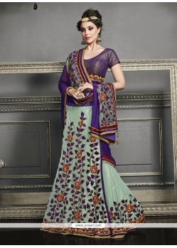 Fine Patch Border Work Net Lehenga Saree