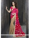 Dilettante Beige Embroidered Work Art Silk Classic Designer Saree