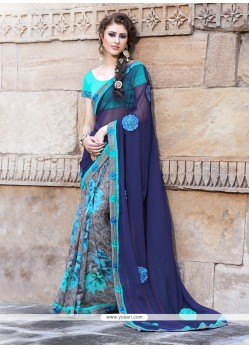 Blue And Grey Pure Georgette Saree