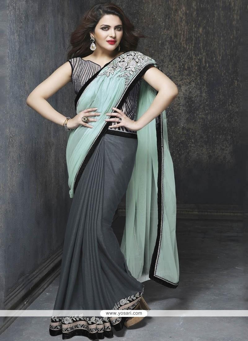 Vibrant Embroidered Work Art Silk Classic Designer Saree