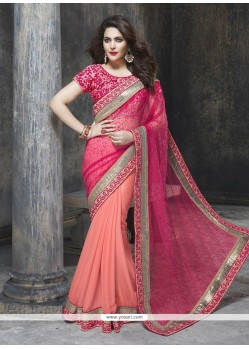 Delightful Faux Chiffon Embroidered Work Classic Designer Saree