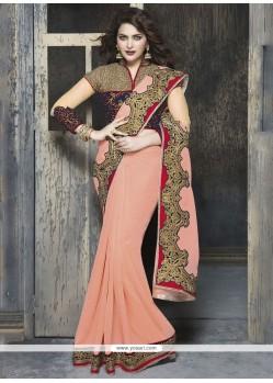 Auspicious Peach Classic Designer Saree