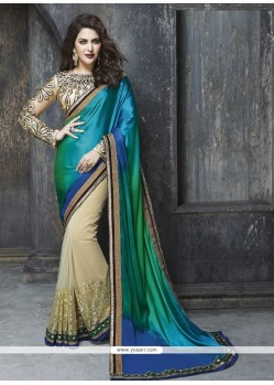 Amazing Multi Colour Embroidered Work Satin Classic Designer Saree