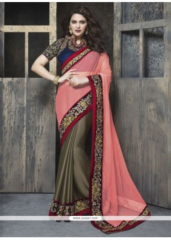 Brilliant Patch Border Work Faux Chiffon Classic Designer Saree